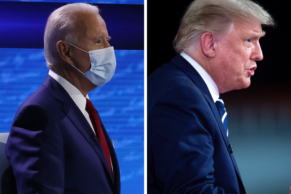 Joe Biden (left) conducts a town hall in Philadelphia while President Donald Trump has a similar event in Miami on Oct. 15. Credit: Chip Somodevilla/Getty Images; Brendan Smialowski/Getty Images