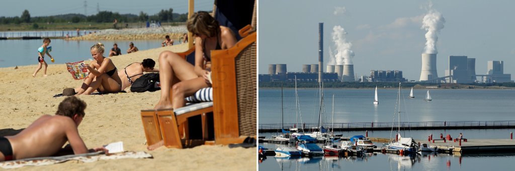 LEFT: Bathers enjoy a sunny day at a beach at Baerwalder See lake on Aug. 21, 2010 near Boxberg, Germany. Baerwalder See is actually a flooded, former open-pit lignite coal mine. RIGHT: Sailboats pass in front of cooling towers at the Boxberg coal-fired p
