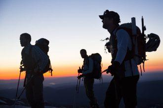 Three ski-mountaineers ascending Mount Hood, Oregon. Credit: Terray Sylvester Ð VWPics/VW Pics/Universal Images Group via Getty Images
