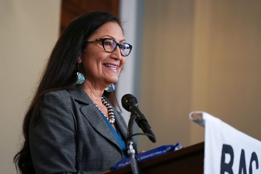 Rep. Deb Haaland (D-N.M.) at the Back the Thrive Agenda press conference at the Longworth Office Building on Sept. 10, 2020 in Washington, D.C. Credit: Jemal Countess/Getty Images for Green New Deal Network