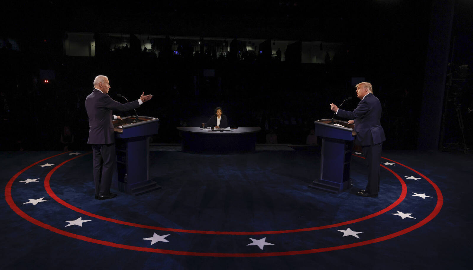 U.S. President Donald Trump and Democratic presidential nominee Joe Biden participate in the final presidential debate at Belmont University on Oct. 22, 2020 in Nashville, Tennessee. Credit: Jim Bourg-Pool/Getty Images
