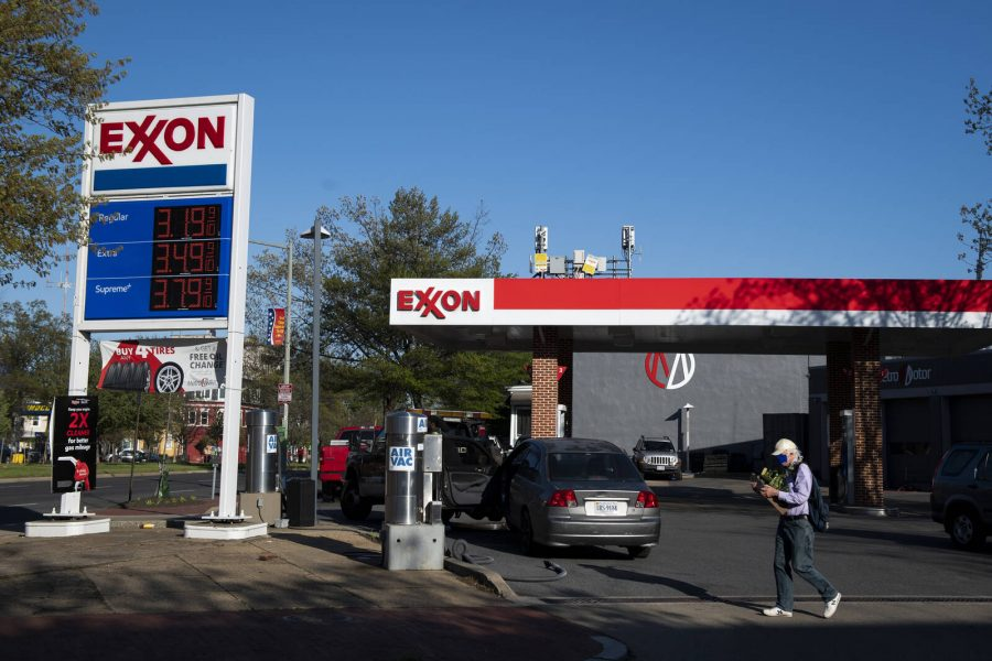 An Exxon gas station is pictured in Washington on Thursday, April 9, 2020. Credit: Caroline Brehman/CQ-Roll Call, Inc via Getty Images