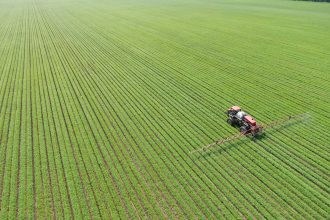 Crops are sprayed with fertilizer to promote the growth of sorghum crops in Heilongjiang Province, China, on July 1, 2020. Credit: Costfoto/Barcroft Media via Getty Images