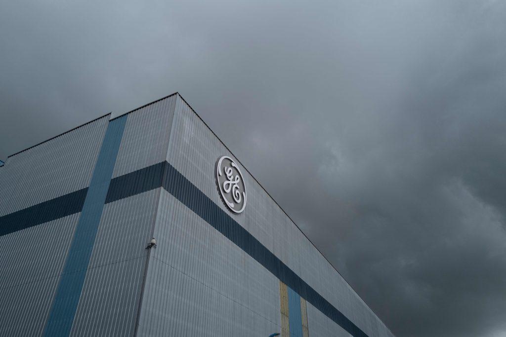 The General Electric logo is pictured in Belfort, France. Credit: Sebastien Bozon/AFP via Getty Images