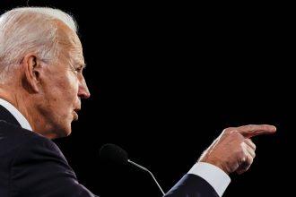 Democratic presidential nominee Joe Biden debates U.S. President Donald Trump at Belmont University on Oct. 22, 2020 in Nashville, Tennessee. Credit: Jim Bourg-Pool/Getty Images