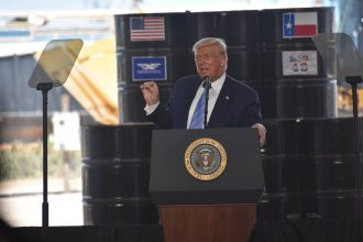 President Donald Trump delivers remarks at Double Eagle Energy oil rig in Midland, Texas, on June 29, 2020. Credit: Kyle Mazza/Anadolu Agency via Getty Images