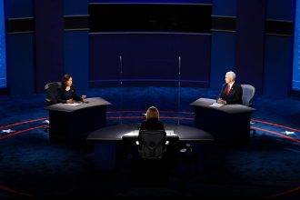 Sen. Kamala Harris (D-Calif.) and Vice President Mike Pence participate in the vice-presidential debate at Kingsbury Hall at the University of Utah in Salt Lake City, Utah on Oct. 7, 2020. Credit: Melina Mara/The Washington Post via Getty Images