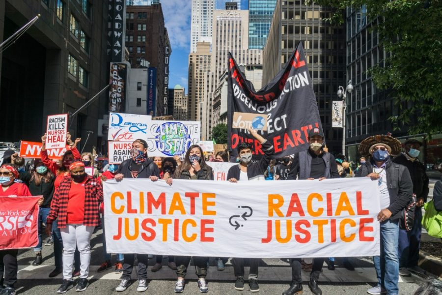 Rise and Resist activist group marching to demand climate and racial justice i n New York City on Sept. 20, 2020.