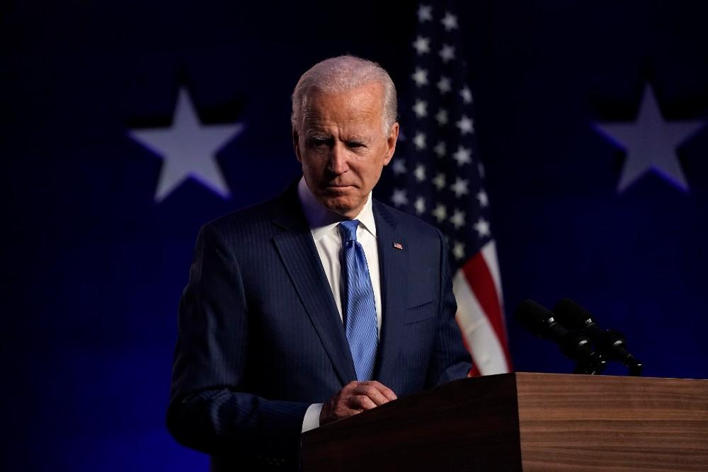 Democratic presidential nominee Joe Biden addresses the nation at the Chase Center November 06, 2020 in Wilmington, Delaware.