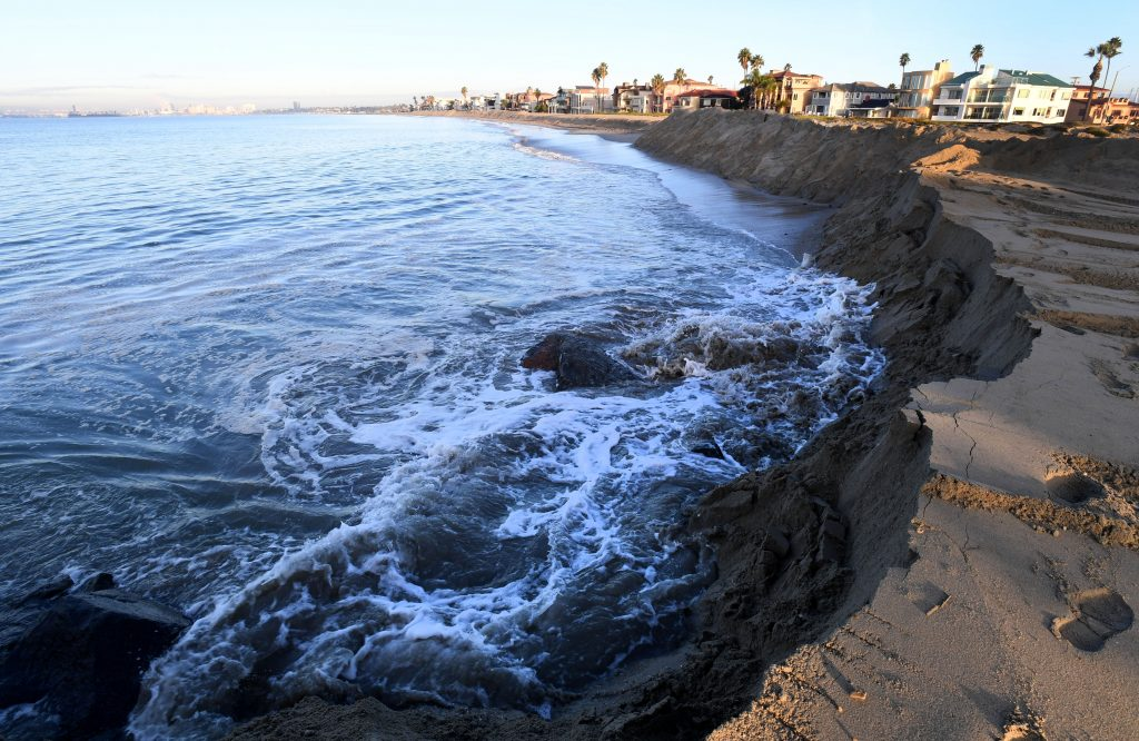 High tide is seen in Long Beach, California. Credit: Brittany Murray/MediaNews Group/Long Beach Press-Telegram via Getty Images