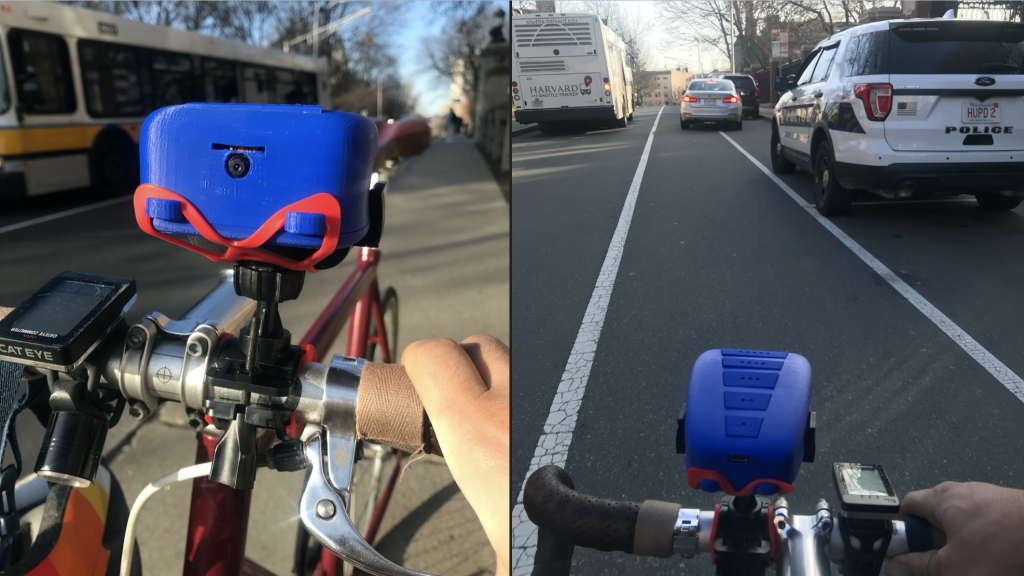 Samuel Clay's product, called Comfort Maps, mounts to a bicycle's handlebars and is used to assess road conditions for cyclists. Courtesy of Samuel Clay