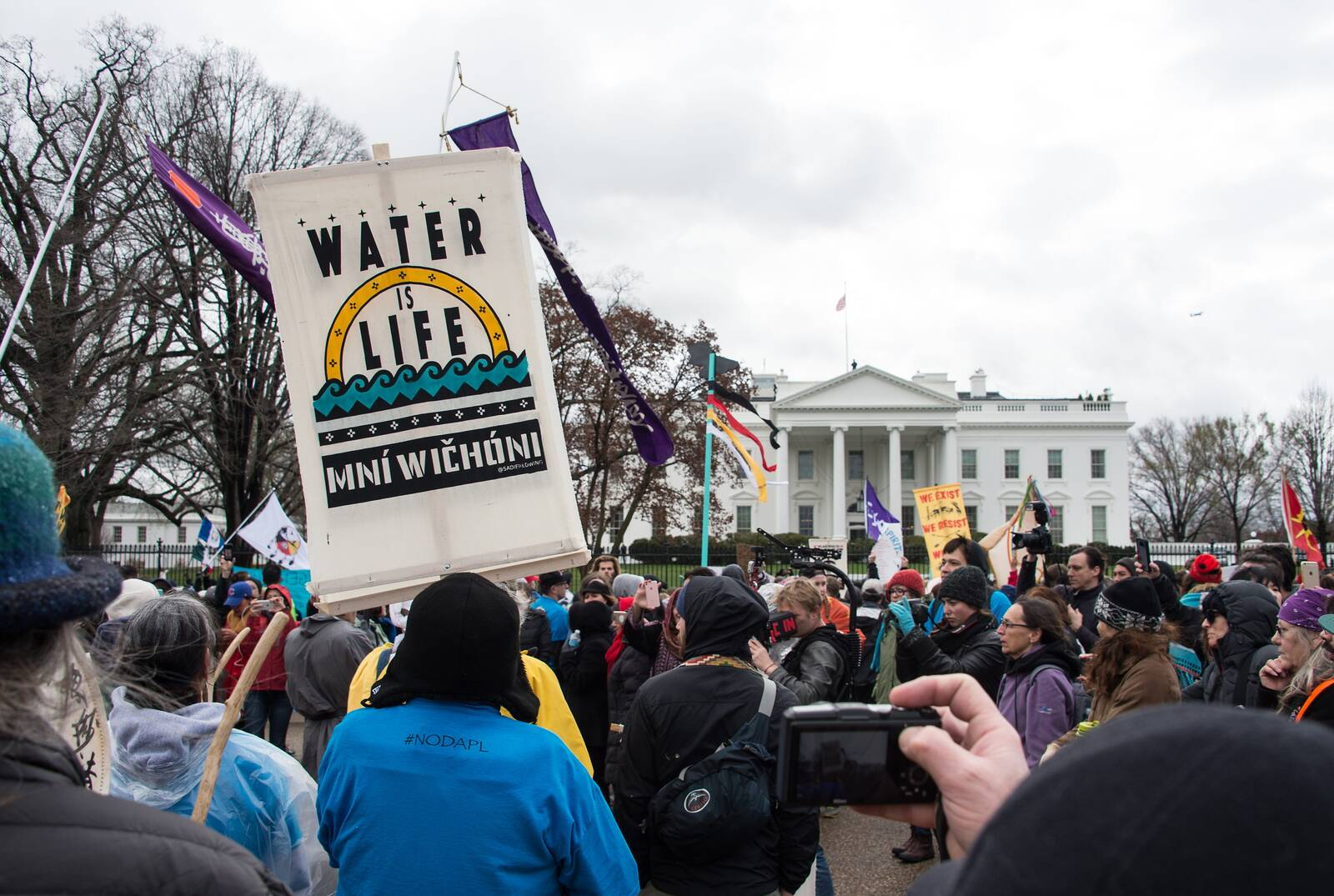 People gather in front of the White House during the Native Nations Rise protest on March 10, 2017 in Washington, D.C. Native tribes from around the US gathered for four days of protest against the administration of President Donald Trump and the Dakota A