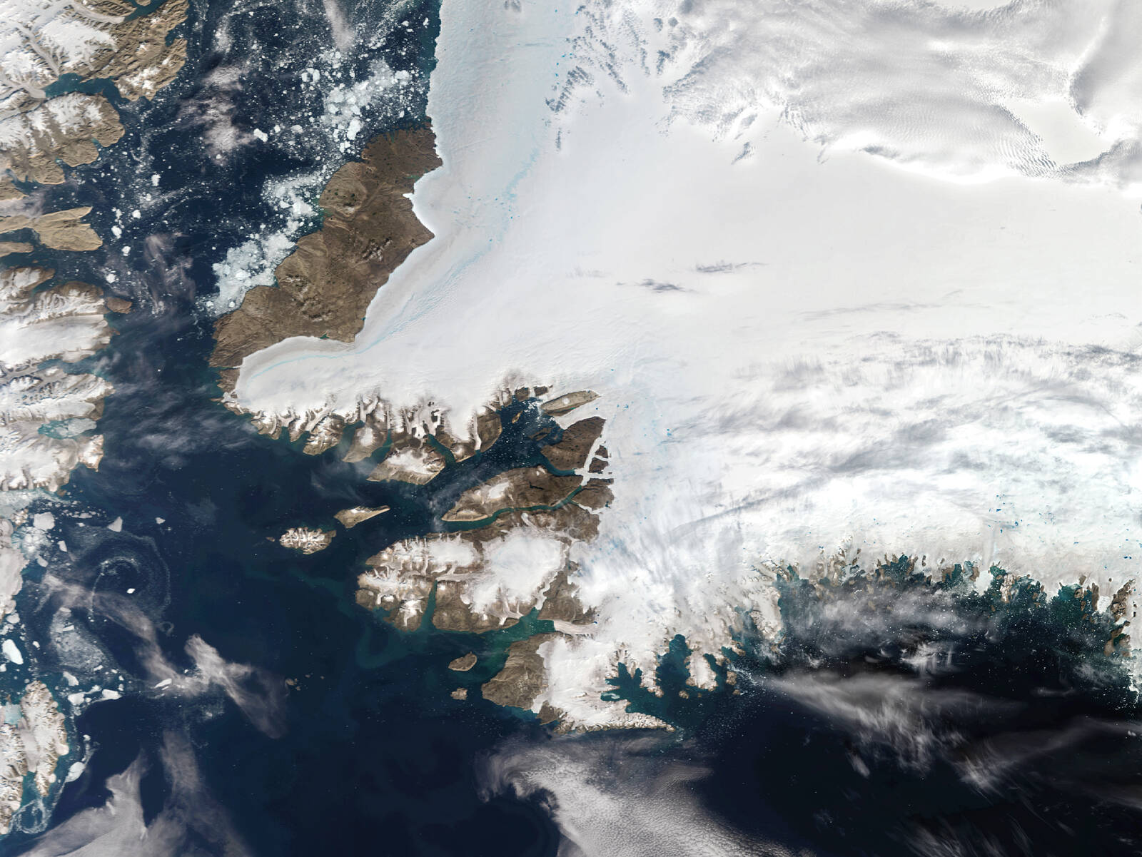 A satellite view of Northwestern Greenland in the Arctic Circle on Aug. 12, 2019 in Pituffik, Greenland. Credit: Orbital Horizon/Copernicus Sentinel Data 2019/Gallo Images via Getty Images)