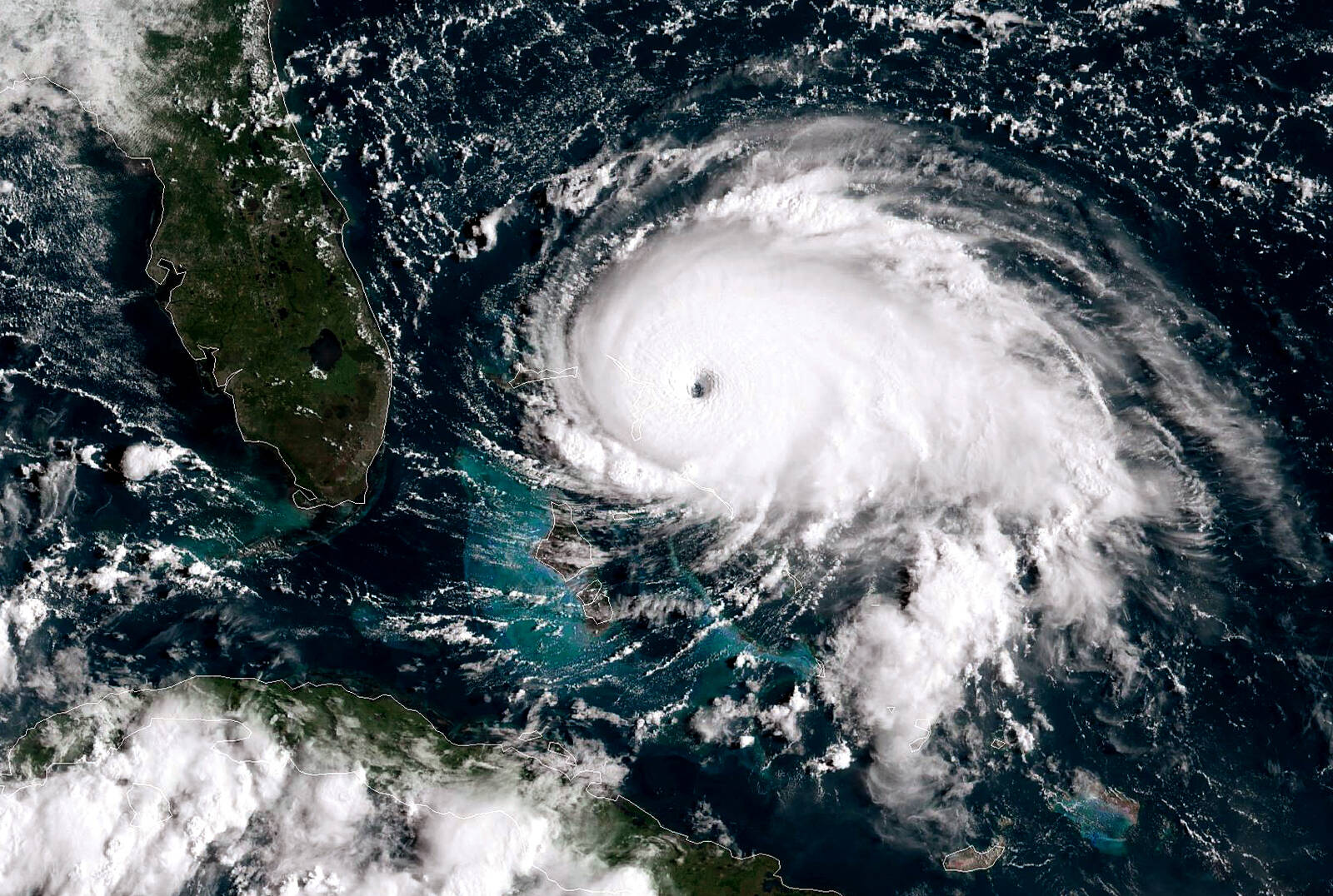 Hurricane Dorian tracks towards the Florida coast on Sept. 1, 2019 in the Atlantic Ocean. Credit: NOAA via Getty Images