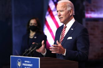 President-elect Joe Biden delivers remarks about the U.S. economy during a press briefing at the Queen Theater on Nov. 16, 2020 in Wilmington, Delaware. Credit: Joe Raedle/Getty Images