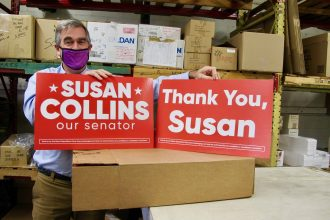 K.C. Hughes is a lifelong Republican, and one of Maine's many split-ticket voters. This year, he voted for Republican Sen. Susan Collins and Democrat Joe Biden for president. His business printed 5,000 signs for the Collins campaign. Credit: Sabrina Shank