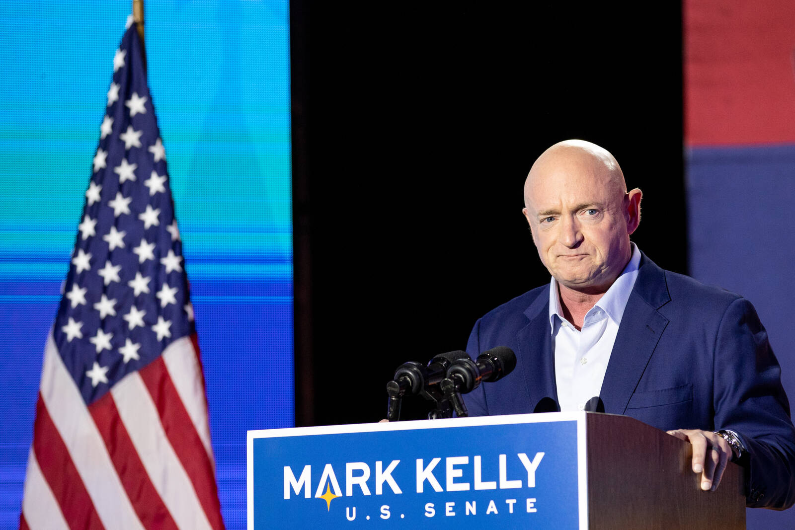 Democratic U.S. Senate candidate Mark Kelly speaks to supporters during the Election Night event at Hotel Congress on Nov. 3, 2020 in Tucson, Arizona. Kelly defeated Republican Sen. Martha McSally (R-Arizona) for Arizona's Senate seat. Credit: Courtney Pe