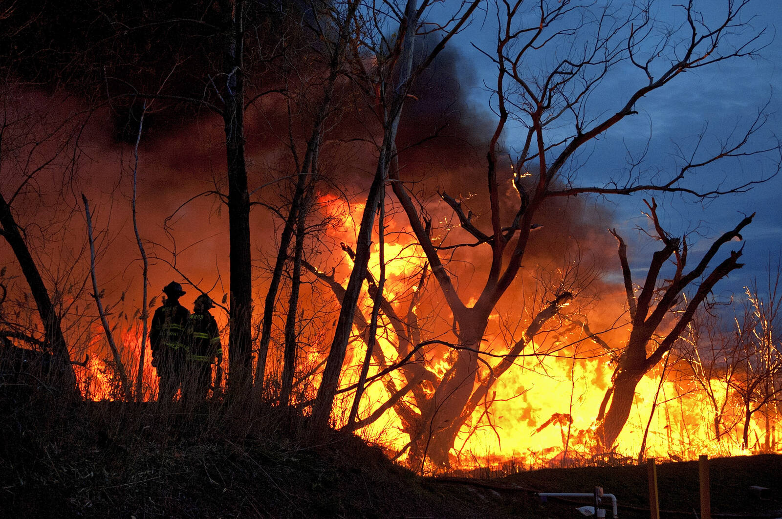 Firefighters battle a brush fire in the Meadowlands near MetLife Stadium on April 11, 2012 in Carlstadt, New Jersey. Credit: Michael Bocchieri/Getty Images