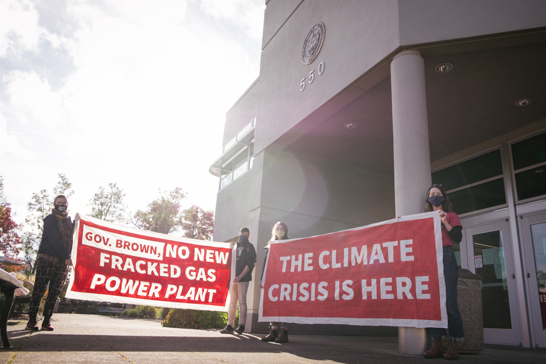 Climate activists protested the construction of the Perennial fracked gas power plant on Oct. 30 by delivering a letter to the offices of Gov. Kate Brown and Department of Energy Director Janine Benner demanding they take steps to terminate Perennial's pe