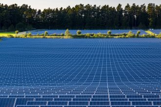 Many Photovoltaik solar panels arranged as part of a solar powerplant. Credit: Frank Bienewald/LightRocket via Getty Images