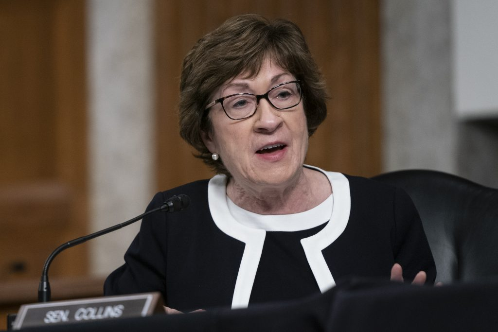 U.S. Sen. Susan Collins (R-Maine) speaks at a hearing of the Senate Health, Education, Labor and Pensions Committee on Sept. 23, 2020 in Washington, D.C. Credit: Alex Edelman-Pool/Getty Images