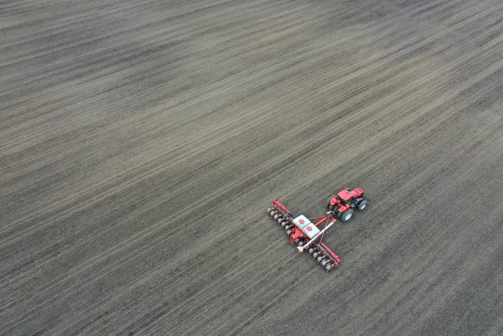 An aerial view from a drone shows a farmer planting corn on a farm he farms with his father on April 23, 2020 near Dwight, Illinois. Credit: Scott Olson/Getty Images