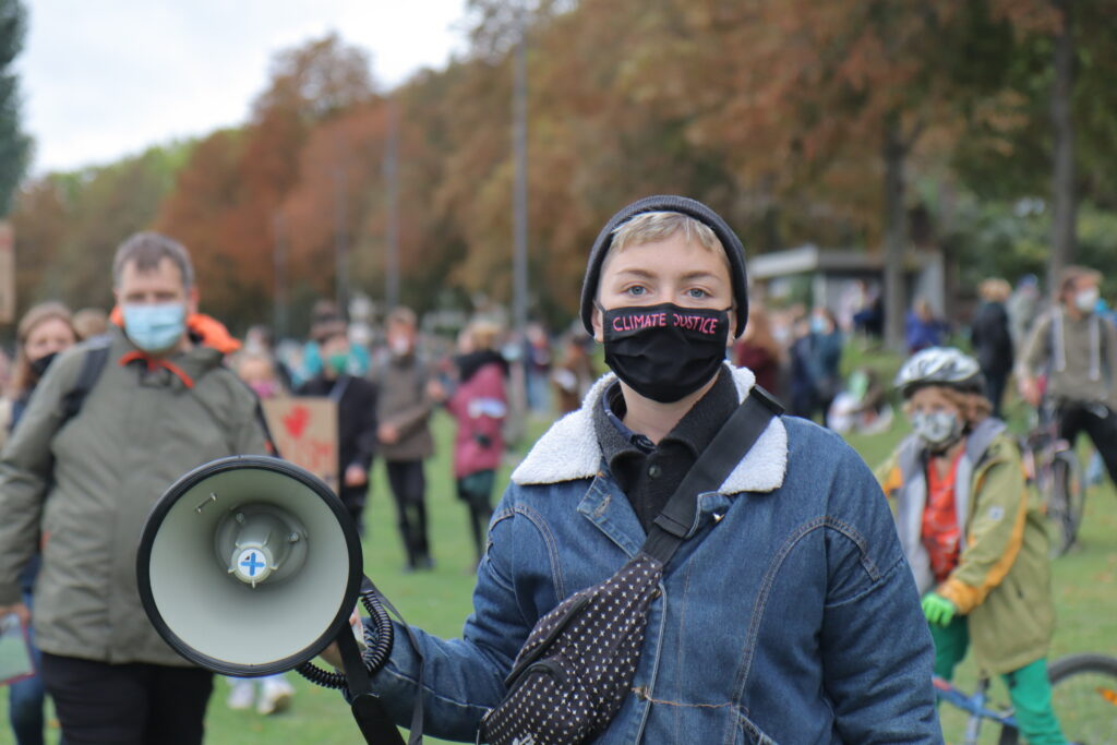 Line Niedeggen, a college student and organizer for Fridays for Future in Heidelburg, Germany, stands at a demonstration in September. Photo Courtesy of Line Niedeggen