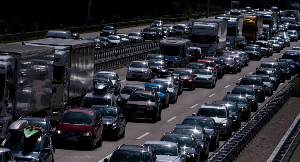 Traffic congestion in Lower Saxony, Mellendorf, on the Autobahn 2: The powerful German auto industry has only recently embraced a transition to electric vehicles.