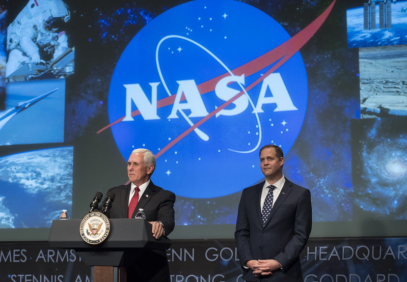 Vice President Mike Pence speaks prior to the swearing-in of Jim Bridenstine as the 13th NASA Administrator, Monday, April 23, 2018 at NASA Headquarters in Washington.