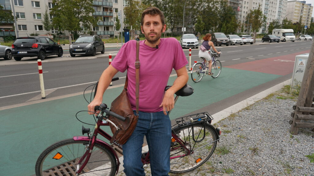 Biking advocate Dirk von Schneidemesser is interviewed near Holzmarktstrasse in Berlin, where his organization, Changing Cities, campaigned successfully for one of the city's first dedicated bicycle lanes. Credit: Dan Gearino