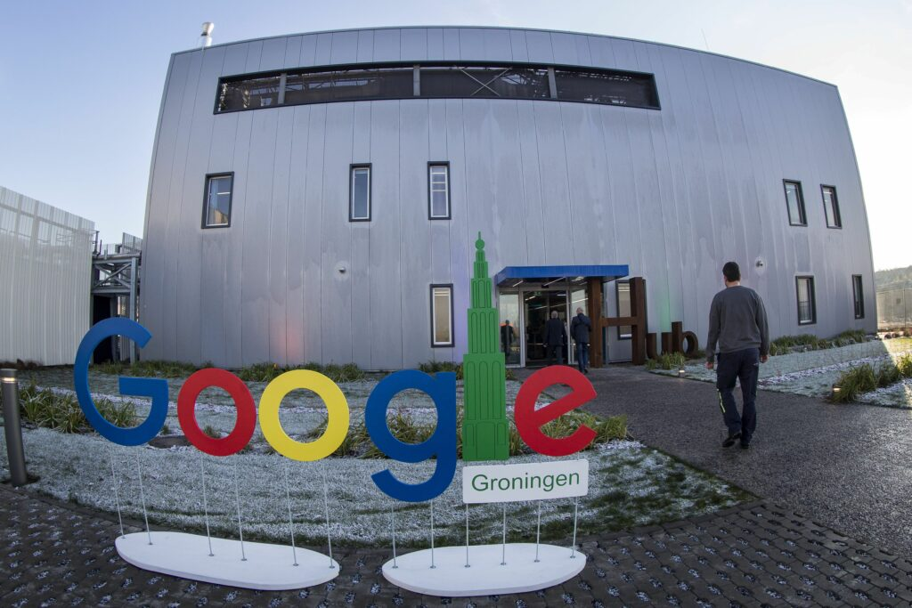 A picture taken on Dec. 6, 2016 shows Google Groningen logo for the office during the opening of the new Google data center in Eemshaven, near Groningen in the Netherlands. Credit: Vincent Jannink/ANP/AFP via Getty Images