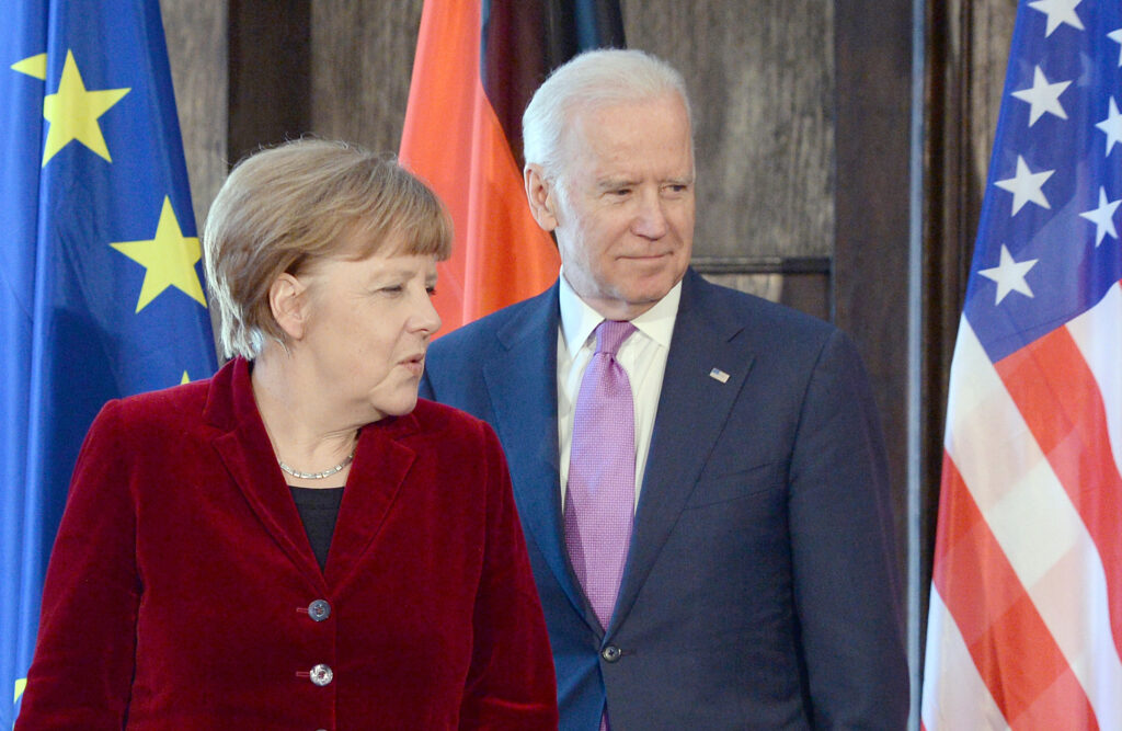 German Chancellor Angela Merkel and then-Vice President Joe Biden  at the 51st Munich Security Conference in Munich in February 2015.