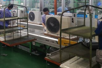Restrictive safety standards in the U.S. and elsewhere have limited production of propane based air conditioners to just 1 percent of total capacity from 18 assembly lines across China that were retooled to use propane with money from the United Nations. Credit: Feng Hao