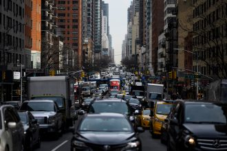 Traffic moves on 2nd Avenue in the morning hours on March 15, 2019 in New York City. Credit: Johannes Eisele/AFP via Getty Images
