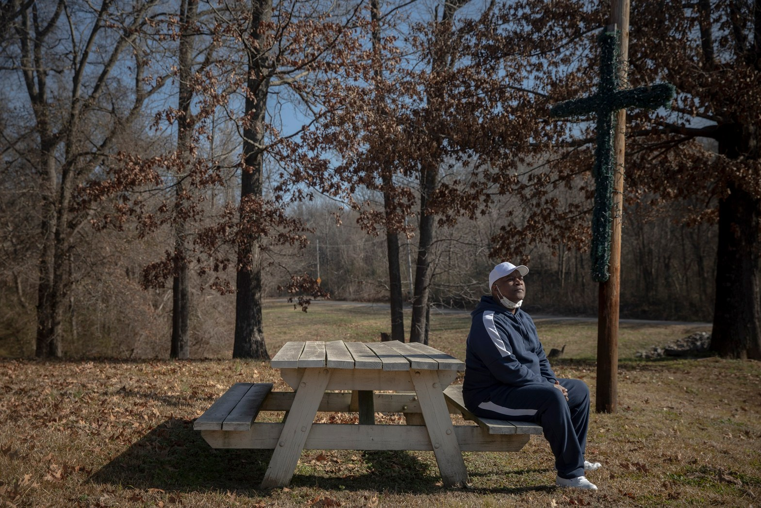 Joseph Owens sits for a portrait outside his home on an acre of land in Southwest Memphis. The Byhalia Connection Pipeline initially offered him $3,000 to obtain an easement on a portion of his property. Credit: Andrea Morales for MLK50