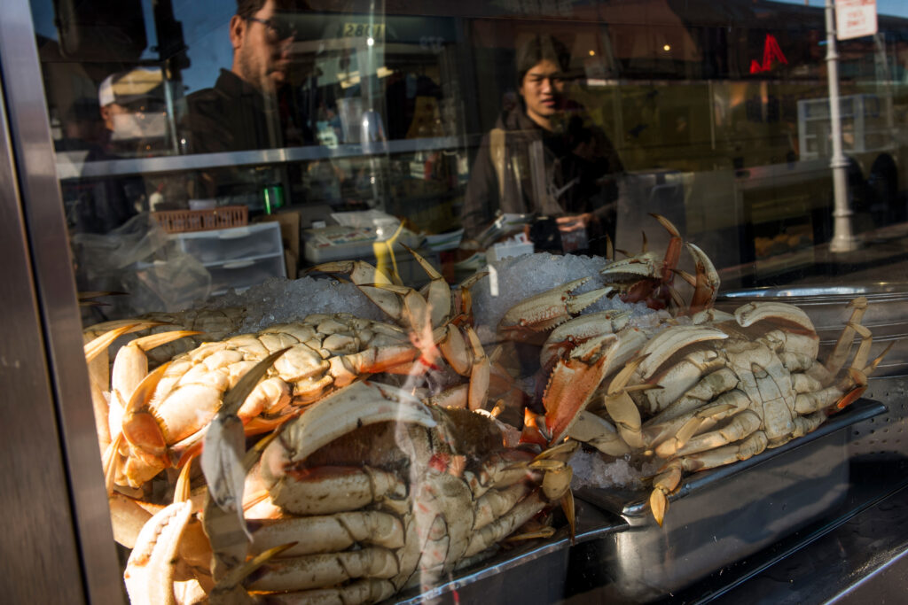 Dungeness crab is displayed for sale at Fishermans Wharf in San Francisco, California, on Monday, Dec. 23, 2019. Credit: David Paul Morris/Bloomberg via Getty Images