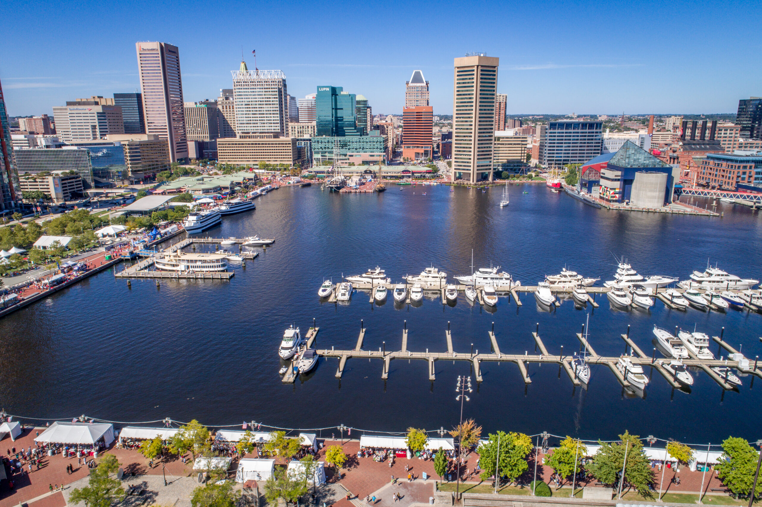 Aerial view of the Inner Harbor and Baltimore skyline featuring World Trade Center Baltimore, Baltimore, Maryland. Credit: Edwin Remsberg/VWPics/Universal Images Group via Getty Images