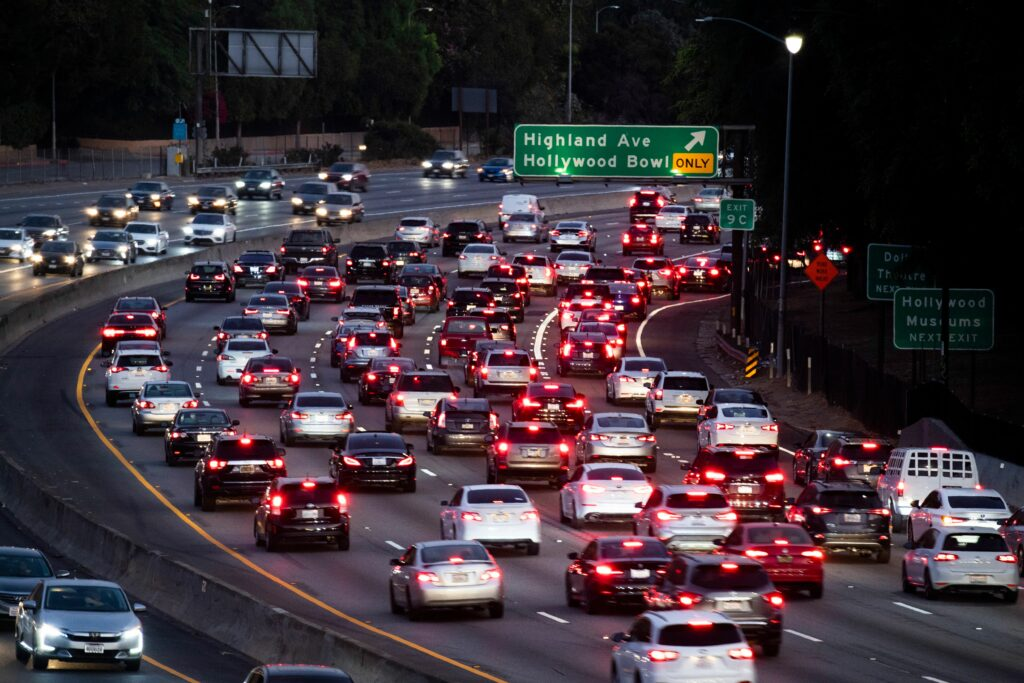 Motor vehicles drive on the 101 freeway in Los Angeles, California on Sept. 17, 2019. Credit: Robyn Beck/AFP via Getty Images