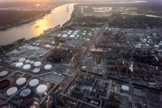 Chemical plants and factories line the roads and suburbs of the area known as 'Cancer Alley' along the Mississippi River in Louisiana on Oct. 15, 2013. Credit: Giles Clarke/Getty Images