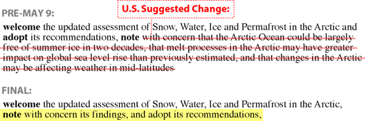 In 2017, an Arctic Council draft joint declaration included the findings of the council's Snow, Water, Ice and Permafrost in the Arctic report. The group hoped that by including those details, the general public might be more likely to learn of the report's dire projections, since very few people actually read the council's voluminous reports. That description was removed from the final declaration at the direction of the United States, under then-Secretary of State Rex Tillerson.