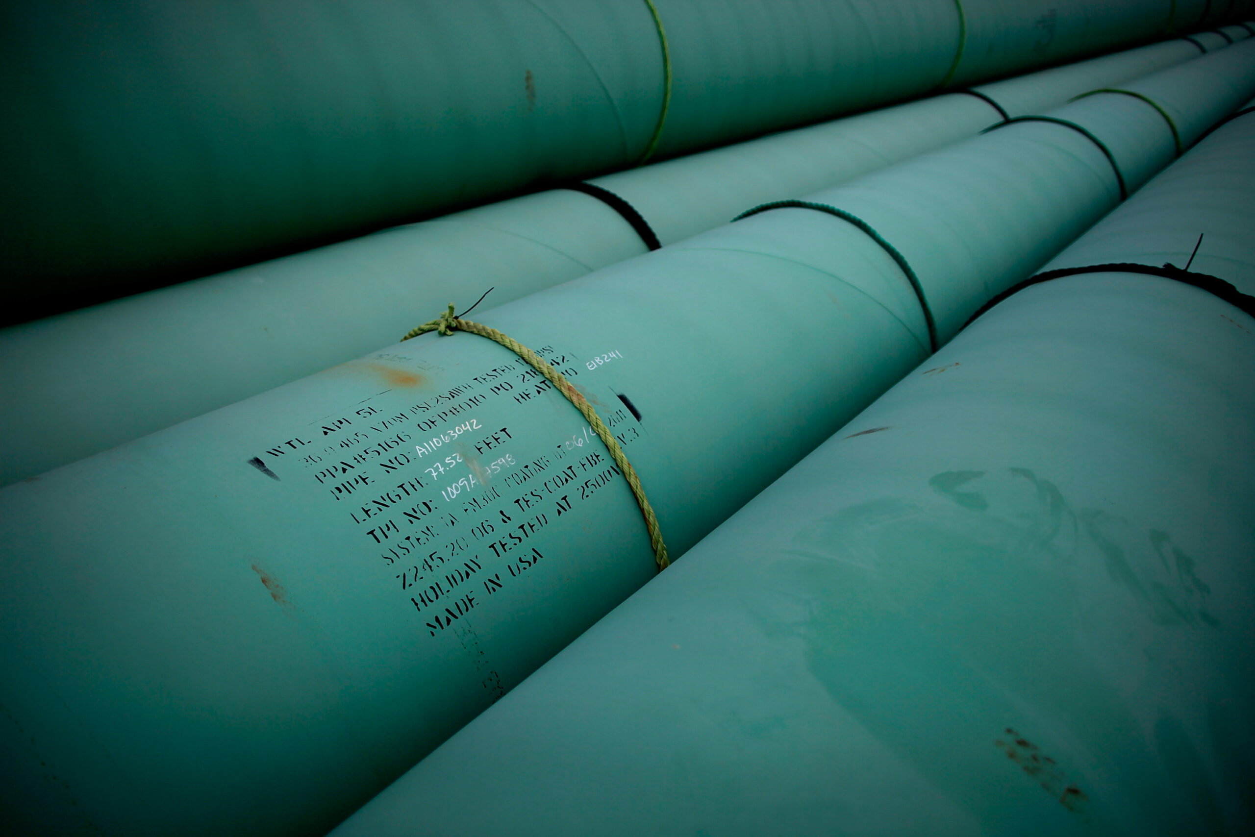 Pipe is stacked at the southern site of the Keystone XL pipeline on March 22, 2012 in Cushing, Oklahoma. Credit: Tom Pennington/Getty Images