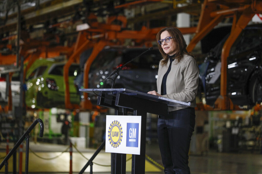General Motors Chairman and CEO Mary Barra speaks on March 22, 2019 in Lake Orion, Michigan. The company announced on Thursday it aims to stop selling gasoline and diesel vehicles by 2035. Credit: Bill Pugliano/Getty Images