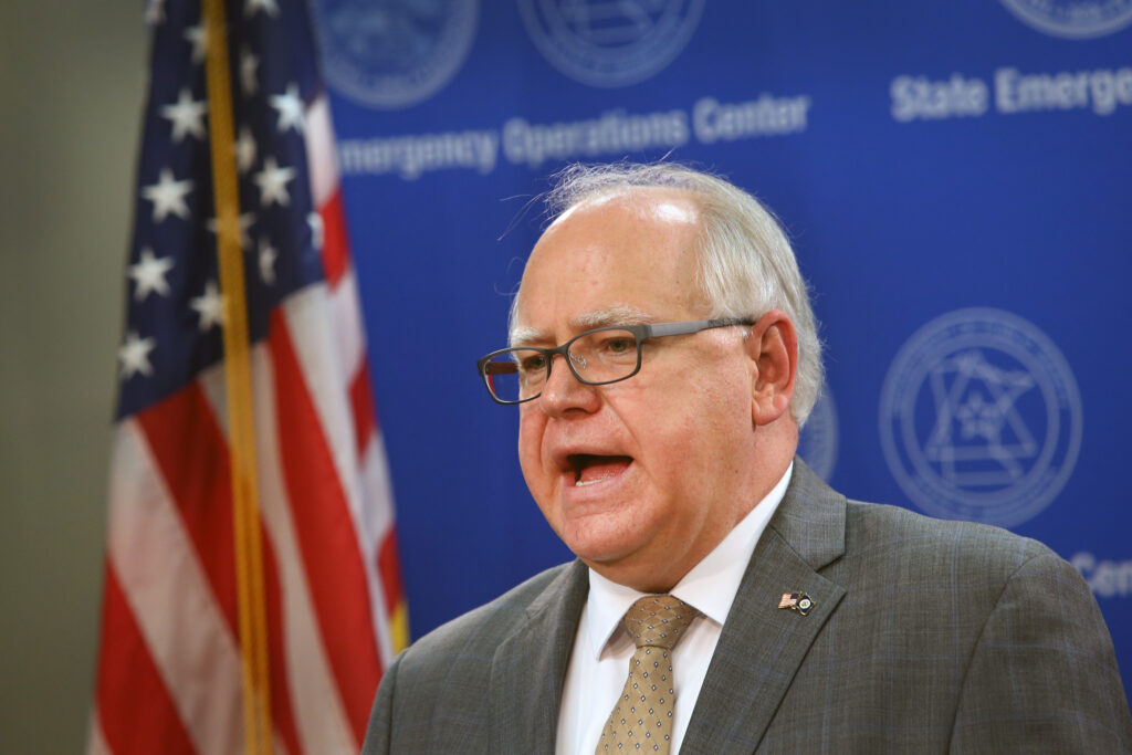 Minnesota Gov. Tim Walz speaks to the press on June 3, 2020 in St. Paul, Minnesota. Credit: Scott Olson/Getty Images