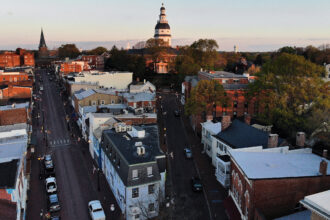 An aerial view from a drone shows the Maryland State House, on April 16, 2020 in Annapolis, Maryland. Credit: Mark Wilson/Getty Images