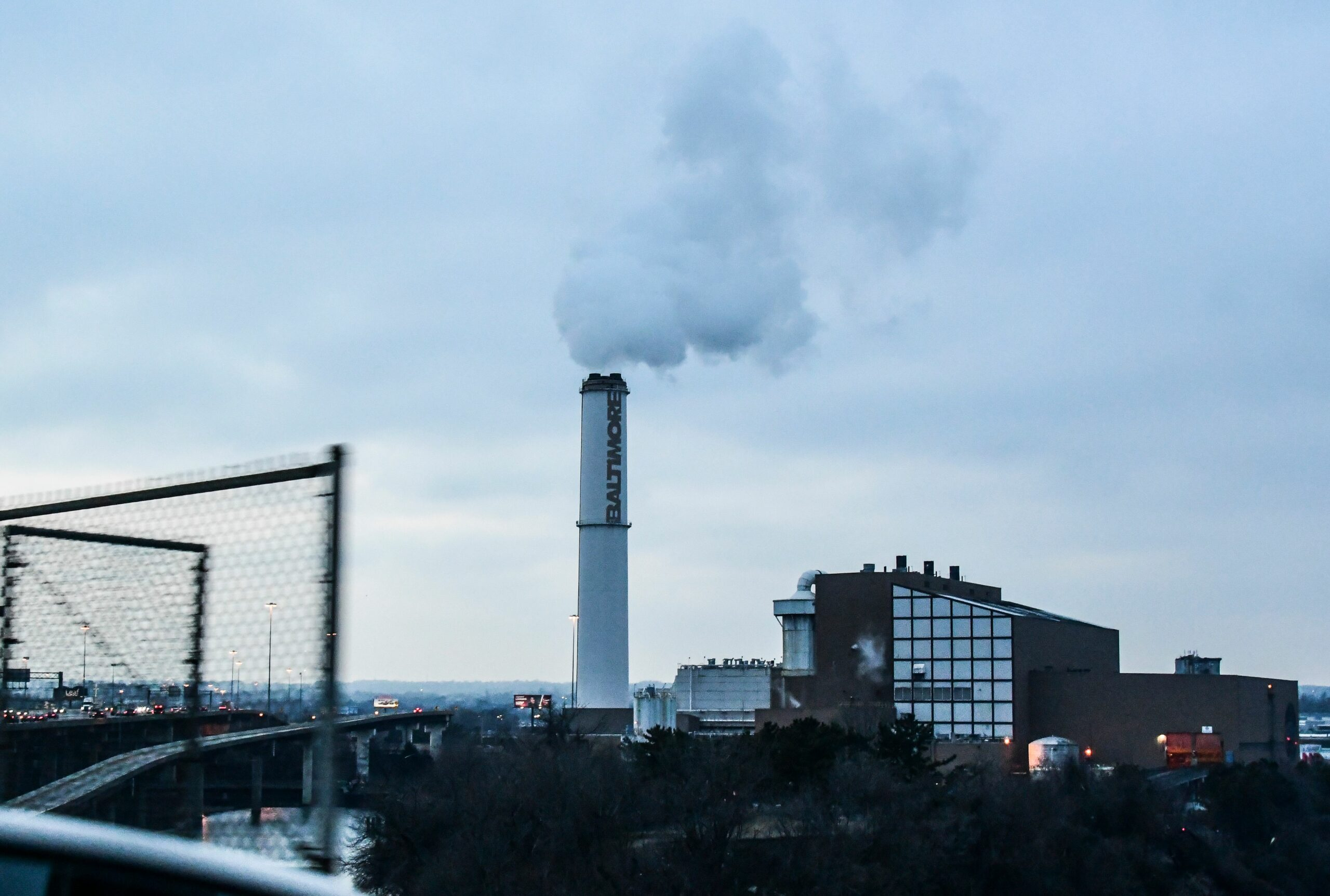 The smokestack of the Wheelabrator Incinerator is seen near Interstate 95 in Baltimore, Maryland, March 09, 2019. Credit: Eva Claire Hambach/AFP via Getty Images