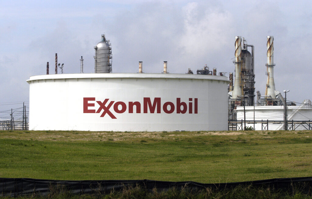 A storage tank is seen at the ExxonMobil oil refinery along the Houston Ship Channel in Houston, Texas, Wednesday, June 9, 2004. Credit: Carlos Javier Sanchez/Bloomberg via Getty Images