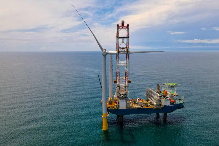 Work proceeds on the Coastal Virginia Offshore Wind farm, 27 miles off Virginia Beach. (Credit: Dominion Energy)