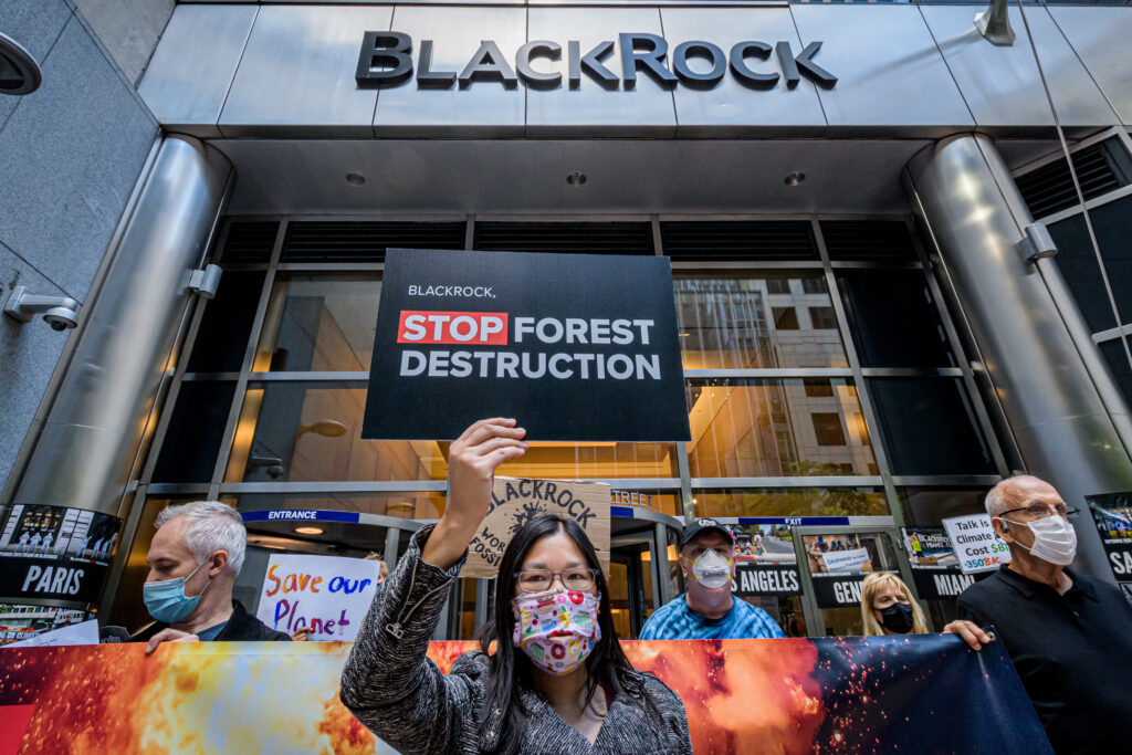 Environmental activists with the Stop The Money Pipeline Coalition held demonstrations outside JPMorgan Chase headquarters and BlackRock offices in New York City on Feb. 10, 2020. Credit: Erik McGregor/LightRocket via Getty Images