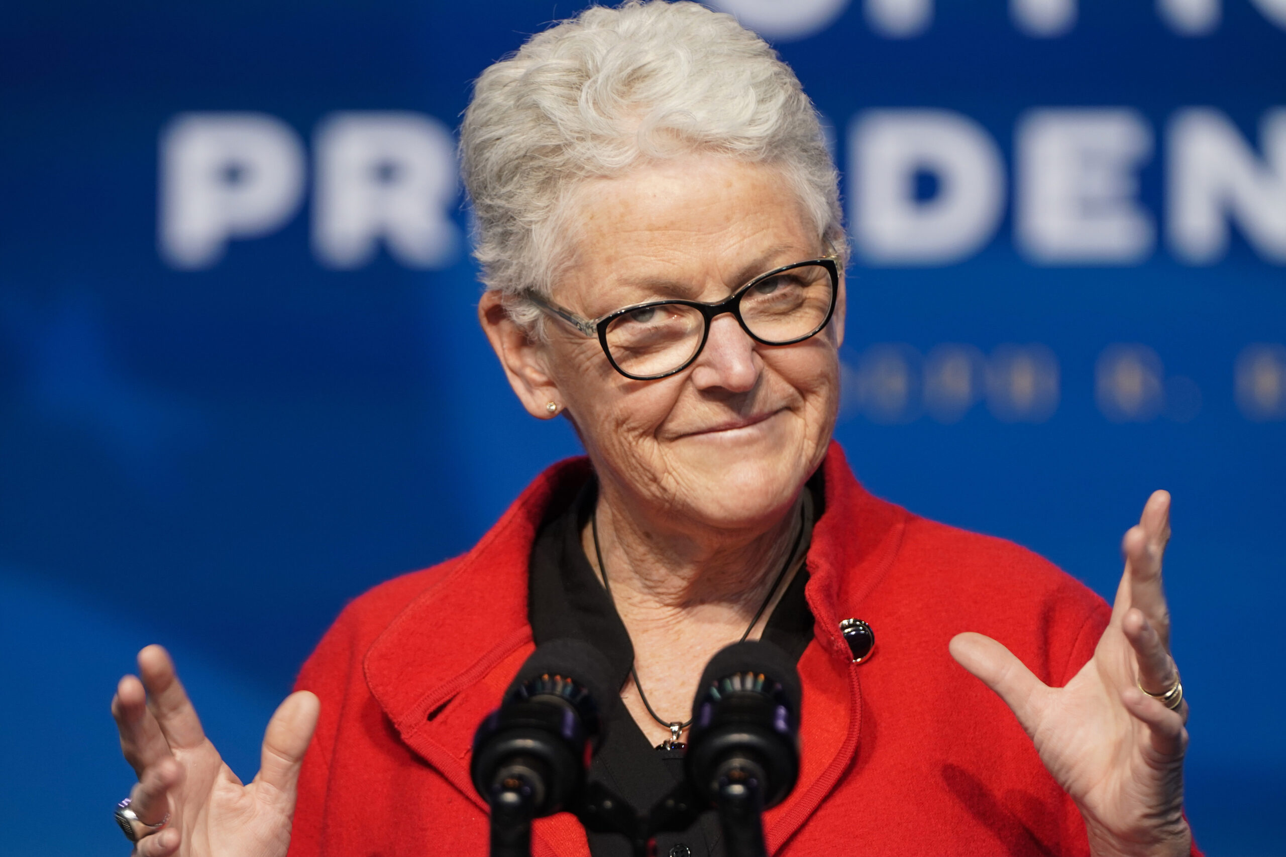 Gina McCarthy, the White House National Climate Advisor, speaks at the Queen theater on December 19, 2020 in Wilmington, DE. Credit: Joshua Roberts/Getty Images