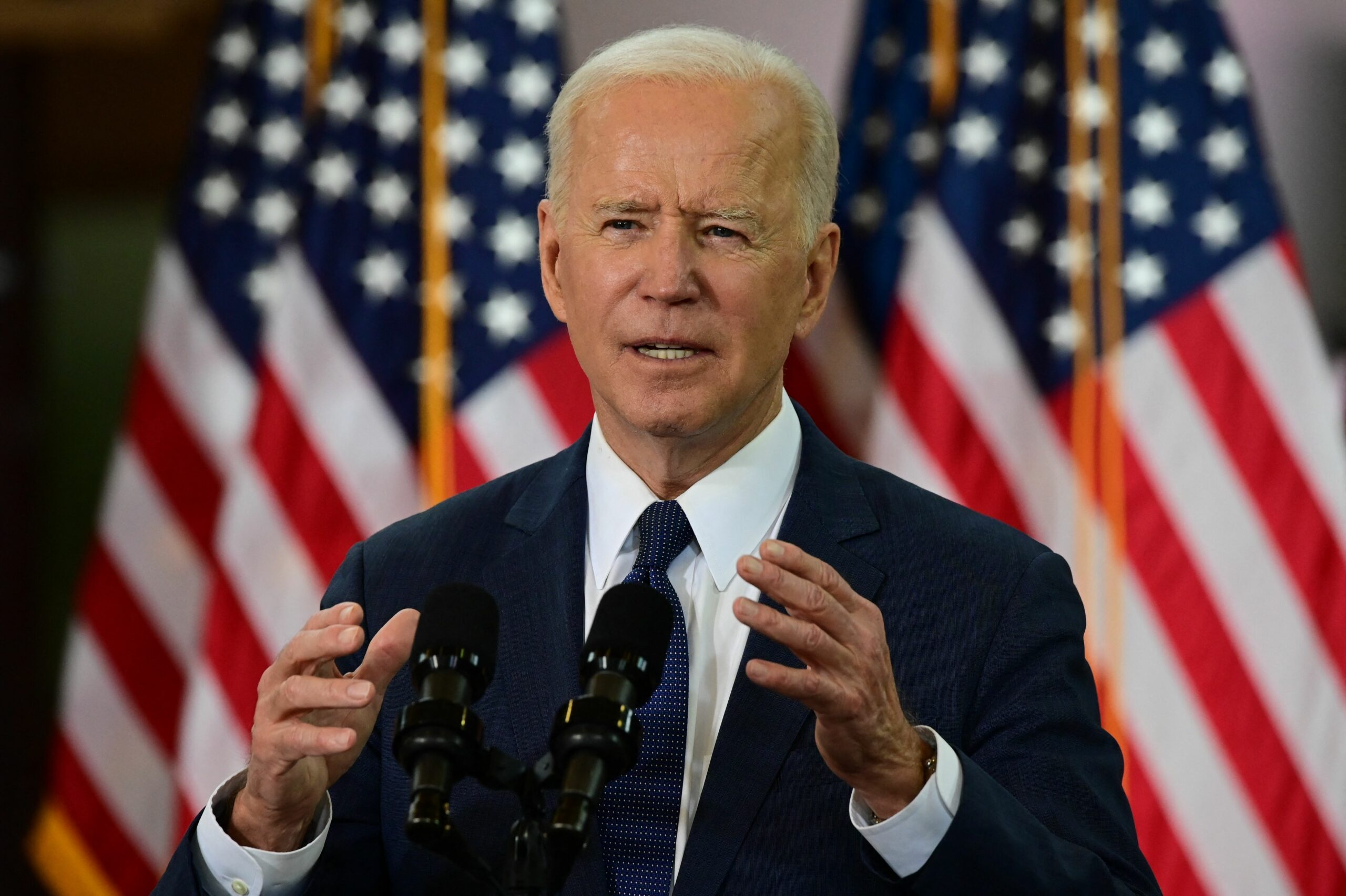 President Joe Biden speaks in Pittsburgh, Pennsylvania, on March 31, 2021. Biden will unveiled a $2 trillion infrastructure plan in Pittsburgh. Credit: Jim Watson/AFP via Getty Images